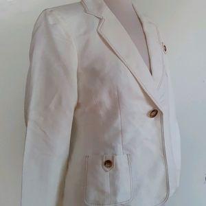Tahari Blazer Jacket, Ivory, Size 4P